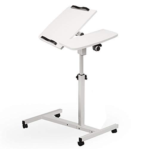 Hunputa Laptop Desk Overbed Table, Mobile Desk Cart, Angle & Height Adjustable Laptop Stand Cart, Computer Desk with Smooth & Lockable Casters, Mobile Lap Workstation Notebook Cart
