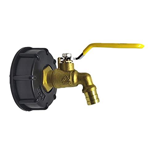 Rubeyul Adaptador de grifo IBC de 3/4 pulgadas, válvula de repuesto de latón, conector de rosca, para depósito de agua S60x6