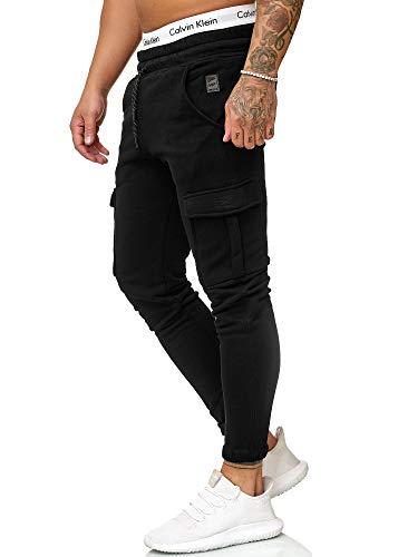OneRedox Herren Jogging Hose Jogger Streetwear Sporthose Modell 1213 (XL, Schwarz)