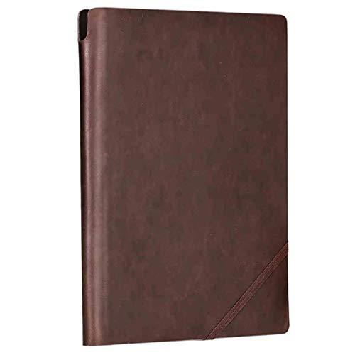Dongxiao Clásico Libreta Revistas Cuadernos de Tapa Dura de Cuero Superior de la PU de Papel Grueso con Bolsillo, Cierre elástico, Titular de la Pluma, Marcador Práctico (Color : Brown, tamaño : L)