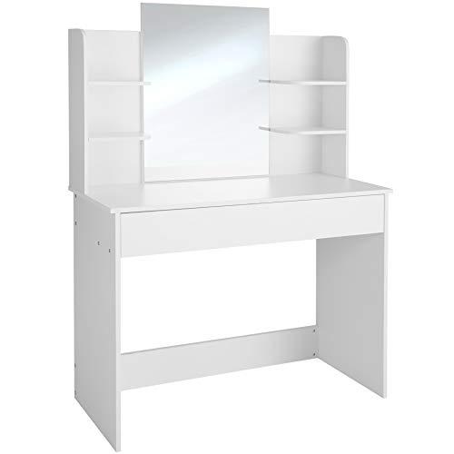 TecTake 403850 Tocador, Cómoda, Mesa con Espejo para Maquillaje, Mueble para Peluquería, Peinador para Utensilios de Belleza