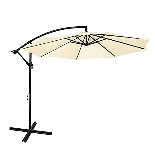 Mondeer Sonnenschirm, 300cm Ampelschirm, Freitragender Regenschirm, Gartenschirm, 3M Alu Gartenschirm, Höhenverstellbarer Kurbelgriff, Wasserdichter, UV-Schutz, für Garten, Terrasse, Beige