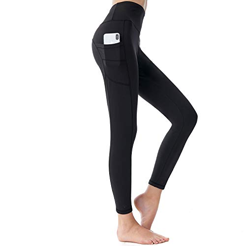SINOPHANT Yoga Pants with PocketsTummy Control Gym Sports Workout Running Trousers High Waisted Leggings for Women Black