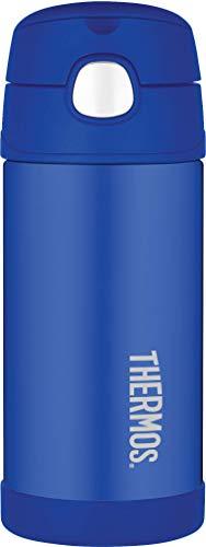 THERMOS 4030.401.035 Isolierflasche FunTainer, Edelstahl Blau 0,35 l, inkl. Trinkhalm, BPA-Free, 12 Stunden kalt