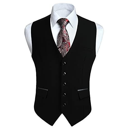 HISDERN Chalecos Negro para Hombre de Vestir Formal Chaleco de Boda Clásico chaleco traje de Negocios fiesta Casual con Bolsillos M