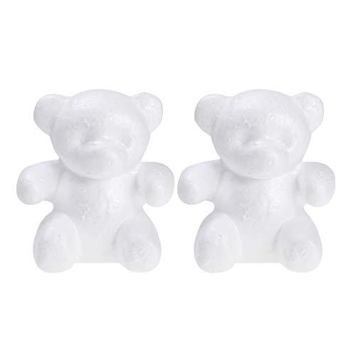 Amosfun 2PCS Polystyrene Styrofoam Foam Bear Shape Modeling Foam Block Mold for DIY Craft Wedding Valentines Day Christmas Party Decoration