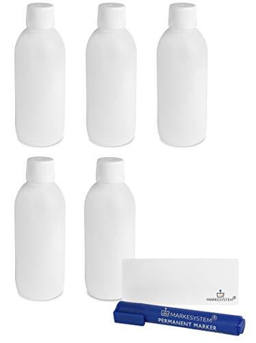 MARKESYSTEM - Botella blanca 250ml (Pack 5 Botellas) tapón de rosca hermético con precinto - Uso alimentario y cosmético - Valona vacía de plástico reciclable HPDE + Kit etiquetado
