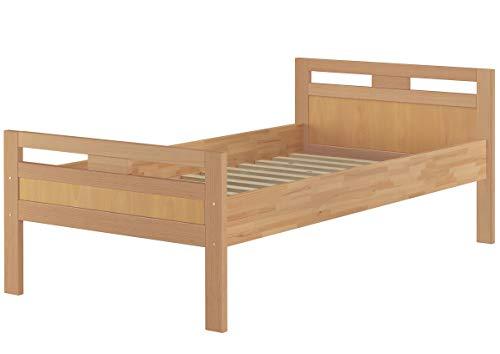 Erst-Holz® Massivholzbett Seniorenbett Buche Natur 90x200 Einzelbett Holzbett Hohes Bett mit Rollrost 60.74-09