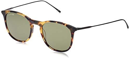 Lacoste Men's L879S Oval Sunglasses, Tortoise/Solid Green, 52 mm