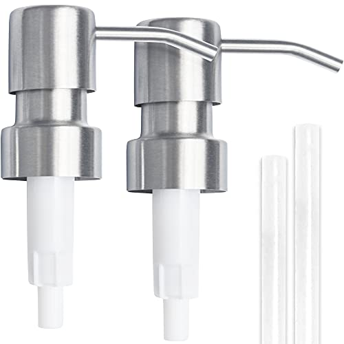 Top Home Store Stainless Steel Soap and Lotion Dispenser Pumps, 2 Pieces, Replacement for Your Bottles, Includes 2 Nine Inch Tubes (2 Pack)