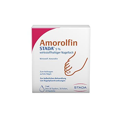 STADA Amorolfin zur äußerlichen Behandlung von Nagelpilz-Erkrankungen - 5% wirkstoffhaltiger Nagellack - mit 30 Tupfern, 30 Feilen, 10 Spateln - 1 x 3 ml
