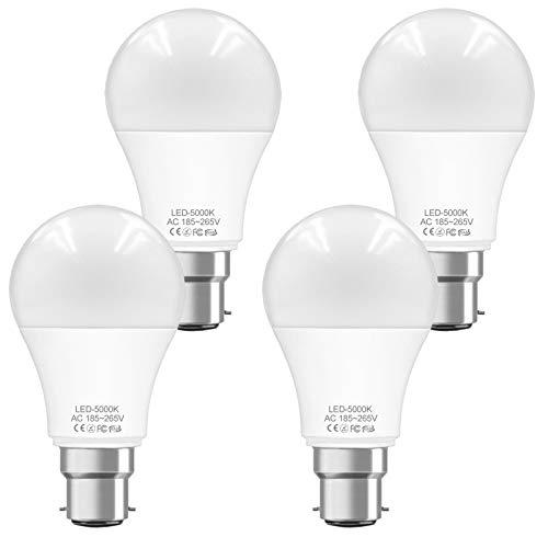 WELLHOME - Lampadina LED B22, 9 W, A60, sostituisce lampadine a incandescenza da 60 W, attacco a baionetta B22d, 5000 K, non dimmerabile, 800 lumen, 230 V, confezione da 4
