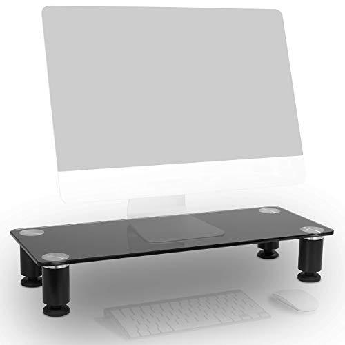 Duronic DM051 Supporto Monitor scrivania Supporto da Tavolo per Monitor Schermo Laptop in Vetro temperato Nero 63x24 cm Portata 40kg