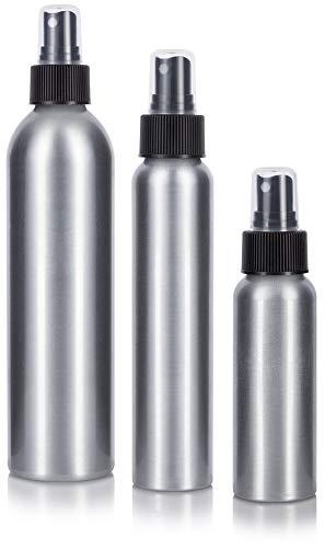 Aluminum Empty Refillable Fine Mist Spray Bottle Set 3 Piece, 1-2.7 oz, 1-4 oz, and 1-8 oz