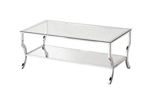 Coaster 720338 Rectangular Coffee Table with Mirrored Shelf Chrome