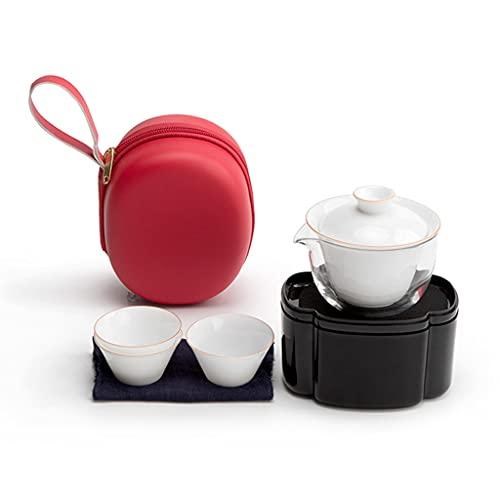 IPOUJ Taza de una Olla, Tres Tazas, Conjunto de té de cerámica Kung fu, Conjunto de té de Bolsa de Viaje portátil Red