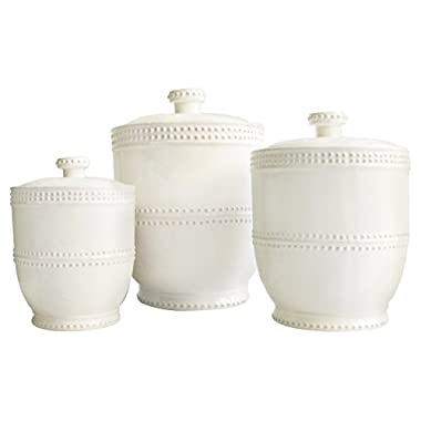 American Atelier 3 Piece Bianca Bead Round Canister Set, White