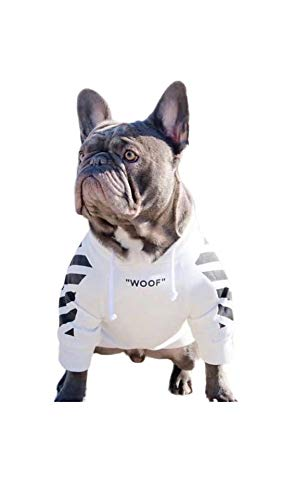 Treat Dog Hoodie,Black White Dog Hoodie,Designer Dog Clothes,Clothes for Bulldogs,Small Dog Sweater,French Bulldog Hoodie,French Bulldog Clothes,Bulldog Sweater,Dog Hoodies for Medium Dogs (W/B, S)