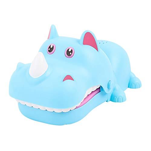 Winkey Rhino Biss Spielzeug Biss Finger Spiele Zahnarzt Spiele Oral Dental Spielzeug Spaß Spielzeug Biss Rhino Finger Biss Spielzeug Parodie Spielzeug (Blau)