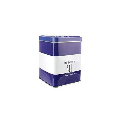 LA BOITE A BT6517 Boîte à Sel Métal Bleu 7,70 x 7,70 x 10,40 cm