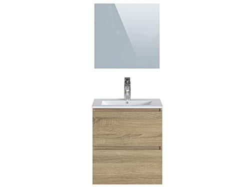 Marchio Amazon -Movian Dive - Mobile bagno con specchio e lavandino, 61 x 46,5 x 68 cm, colore marrone