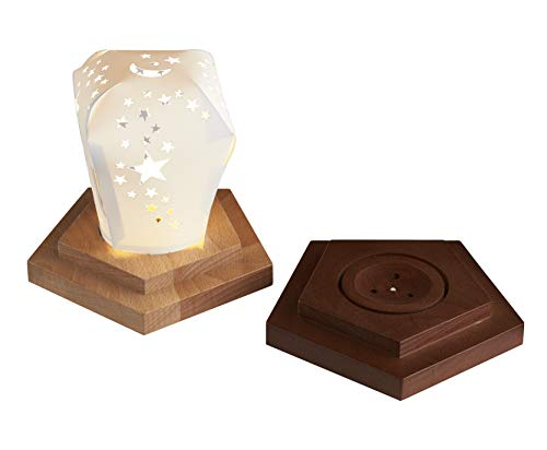 Green First   Light Star Projector Led Wood Base Nightstand Lamp Display Decor,Touch Switch with 4-Level dimmer and Flashing Light,Adjust Brightness 3000K Warm
