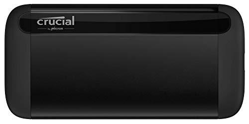Crucial CT1000X8SSD9 X8 1TB Portable SSD – Bis zu 1050MB/s – USB 3.2 – Externes Solid State Drive, USB-C, USB-A
