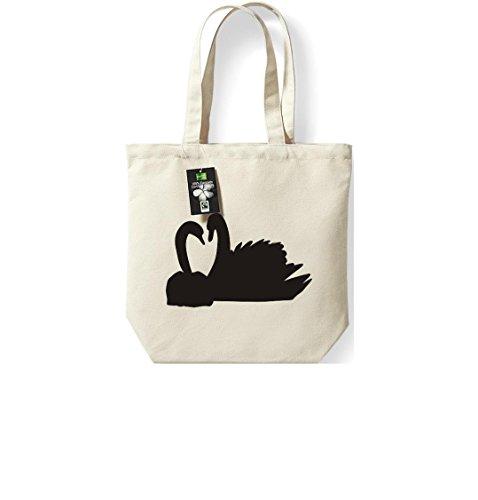Fairtrade Stoffbeutel Tiermotive Zoo Natur Vogel Schwan swan Beutel, Shopper Umhängetasche , Farbe natur