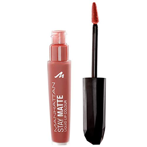 Manhattan Stay Matte Liquid Lip Colour, Matter, wisch- und wasserfester Lippenstift für langanhaltende Farbintensität, Farbe Noho Mocha 120, 1 x 5,5ml