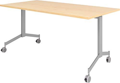 bümö Klapptisch fahrbar 160 x 80 cm - mobiler Konferenztisch klappbar & rollbar | Meetingtisch massiv mit Rollen (Ahorn)