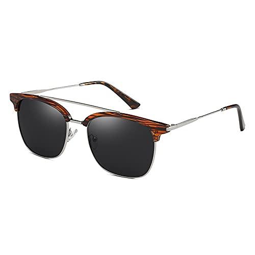 ZKP Gafas de sol polarizadas para hombres y mujeres con marco semicirimetral para conducción y sol, bloqueo UV (color: marco de madera de grano gris pieza)