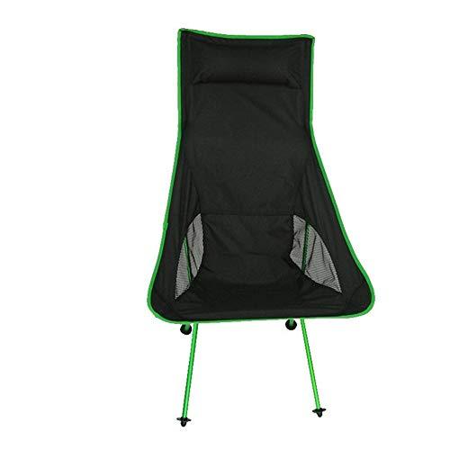 GUIPING Außen Leichte Klappstuhl Lehnstuhl Off-ROA Leichter tragbarer Strandstuhl Outdoor Folding Camping Stuhl Aluminium Rückenlehne Freizeitstuhl (Farbe : Grün)