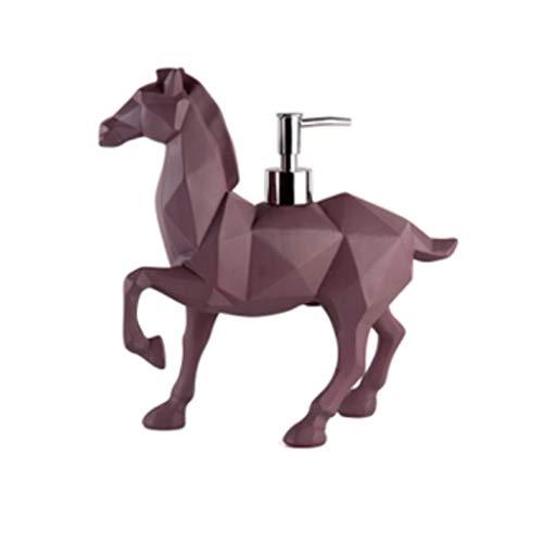Dispensador de loción Caballo del Dispensador De Jabón De Resina, Bomba De Jabón De Animales De Oso Lindo Dispensador De Gel De Ducha De Encimera (Color : Horse Purple)