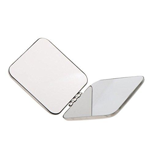 Mini Miroir de Poche Pliable en Acier Inox Compact Miroir Grossissant à Maquillage Miroir Cosmétique pour Voyage