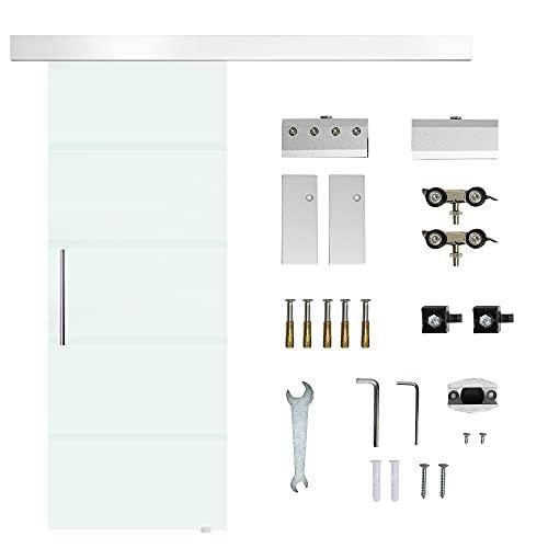 HOMCOM Porta Scorrevole in Vetro Smerigliato e Satinato con Binario e Maniglia per Bagno Cucina 210cm