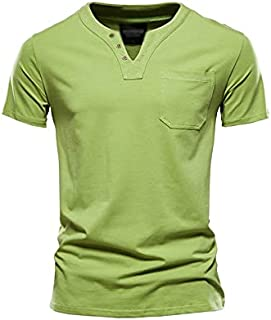 FMloveYYnsdx Mens Casual Shirts Summer Top Quality Cotton T Shirt Men Firm Color Design V-neck T-shirt Casual Classic Men'...