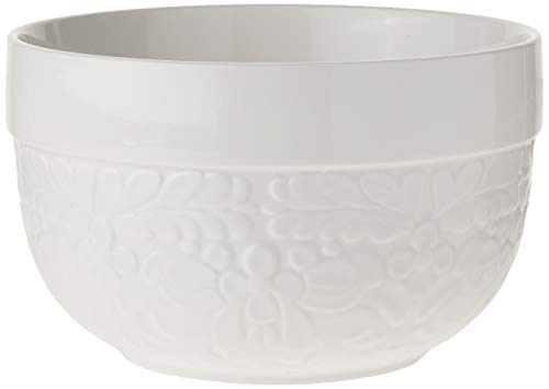 Twine 5520 Pantry: Floral Textured Ceramic 3 Quart Mixing Bowl, White