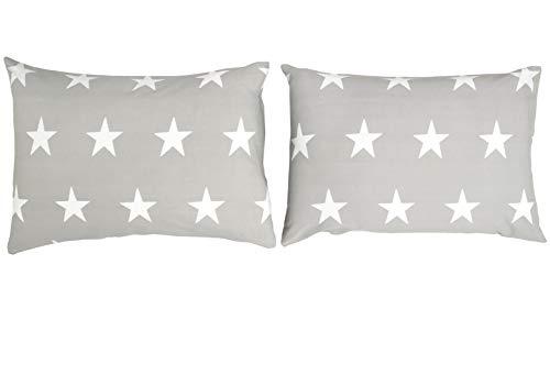 Bloomsbury Mill – Graue & Weiße Sterne – Zwei Kissenbezüge (zusätzlich) - 50cm x 75cm