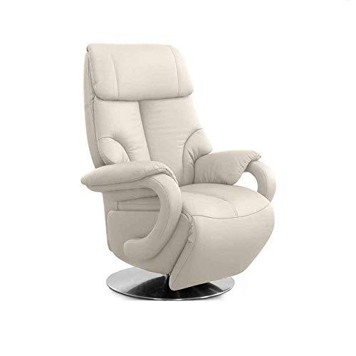 CAVADORE Ledersessel Istanbul / Fernsehsessel mit elektrisch verstellbarer Relaxfunktion / 2 E-Motoren / 80 x 115 x 79 / Echtleder: Weiß