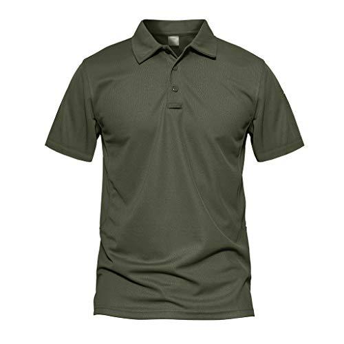 MAGCOMSEN Herren Poloshirt Airsoft Shirt Quick Dry Hemd für Herren Wandern Trekking T-Shirt US Army Shirts Atmungsaktiv Outdoor Polo Shirt mit Knopfleiste Armeegrün L