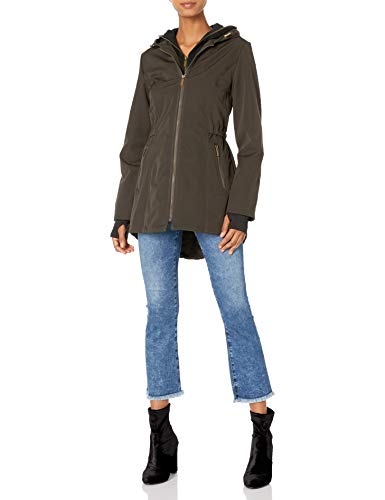 French Connection Women's Soft Shell with Detach Sweatshirt, Olive, Small