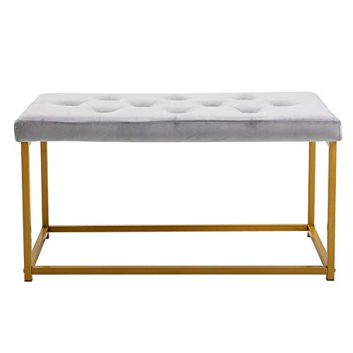EBTOOLS Pink/Grau Sitzbank Polsterhocker Sitzbänke Sitzhocker Fußbank mit goldenem Rahmen und Samt Polsterung für den Innenbereich, Schlafzimmer, Wohnzimmer und Flur, 89 * 44,5 * 44,5 cm(Grau)