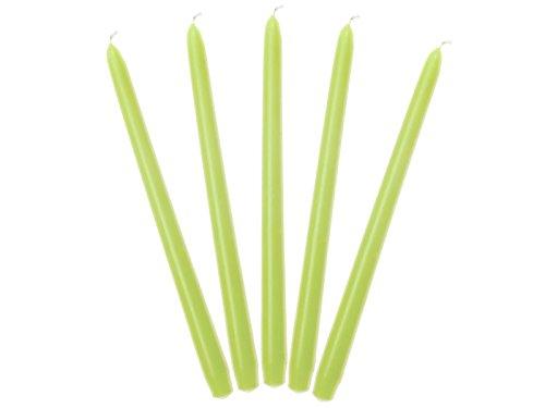 Lot de 10 bougies en cire Vert clair mat 29 cm