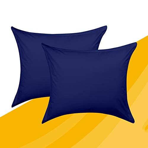 ComfortAce Kissenbezug Hülle 2er Set kissenhülle Kopfkissenbezug 100% Baumwolle Bettkissenbezug Kissenbezug, 60x70 cm Marineblau