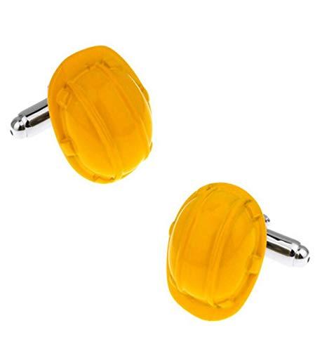 jiao Schutzhelm Manschettenknöpfe Neuheit Hut Design Gelbe Farbe Messingmaterial