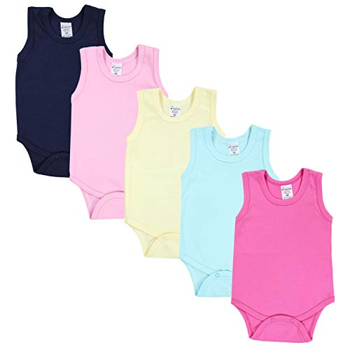 TupTam Baby Mädchen Achselbody in Unifarben 5er Pack, Farbe: Farbenmix 1, Größe: 92