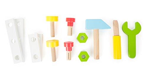 2 in 1 Lauflernwagen Werkzeug Werkstatt Lauflernhilfe Steckspiel mit Gummibereifung 34 x 36 x 44 cm, 13-teiliges Zubehör - 4