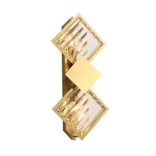 DHRH Lámpara de Pared con luz de Espejo para baño E14 Creative Rhombus Metal, Apliques de Cristal Transparente Vintage para Sala de Estar, Dormitorio, Color latón (sin Bombilla), a