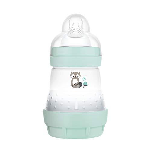 MAM Easy Start Anti-Colic Elements Babyflasche (160 ml), Milchflasche für die Kombination mit dem Stillen, Baby Trinkflasche mit Bodenventil gegen Koliken und Sauger Größe 1, 0+ Monate, Waschbär