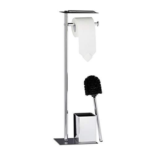Relaxdays, Toilettenbürste u. Bürstenhalter, HxBxT 66 x 20 x 13 cm, schwarz-Silber WC Garnitur mit Toilettenpapierhalter, 13,5 x 20 x 66,5 cm